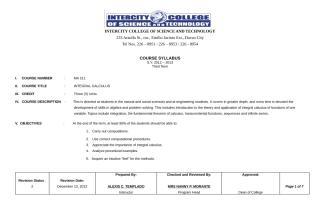 course syllabus of integral calculus.doc